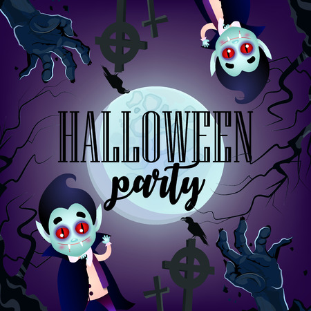 Halloween party invitation with vampires and zombie hands. Creative lettering with cartoon vampires and zombie hands with full moon. Can be used for banners, posters, leaflets