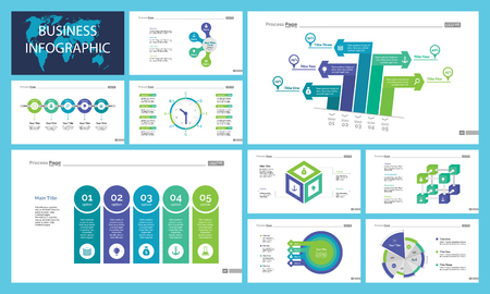 Business presentation page design set can be used for annual report, web design, workflow layout. Analysis concept. Process cart, flowchart, donut, pie graphs, organizational chart, bar graph Vettoriali