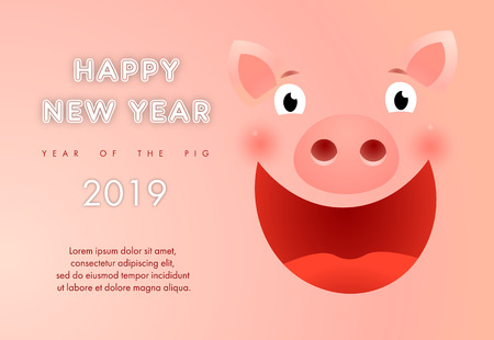 Year of  pig presentation banner design with sample text. Creative inscription with funny pig face. Can be used for presentations, calendars, posters