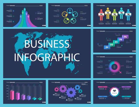 El conjunto de diseño creativo de infografía empresarial se puede utilizar para informes anuales, diseño web, diseño de flujo de trabajo. Concepto de flujo de trabajo. Opción, venn, ciclo, gráficos de anillos, gráfico de barras, diagrama de flujo
