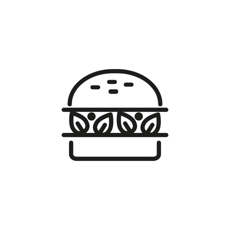 Vegan burger line icon. Snack, vegetable, lunch. Food concept. Can be used for topics like vegetarian diet, healthy eating, organic food  イラスト・ベクター素材