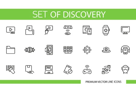 Set of discovery line icons. Device, gadget, game. Technology concept. Can be used for topics like multimedia, data, communication, computing