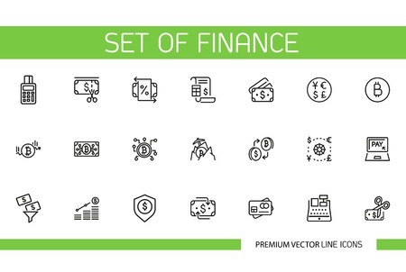 Set of finance line icons. Cryptocurrency, money, commerce. Banking concept. Can be used for topics like saving, investment, market Illustration