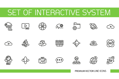 Set of interactive system line icons. Gadget, innovation, artificial intelligence. Technology concept. Can be used for topics like virtual reality, simulation, videogame