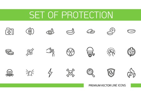 Set of Protection Line Icons. Contact lens, hazard substance, danger, flammable. Safety concept. Can be used for poison, epidemic, toxic