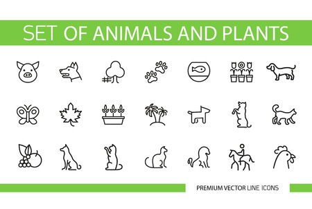 Set of animals and plants line icons. Pet, flower, vet. Domestic animal concept. Can be used for topics like hobby, nature, farm