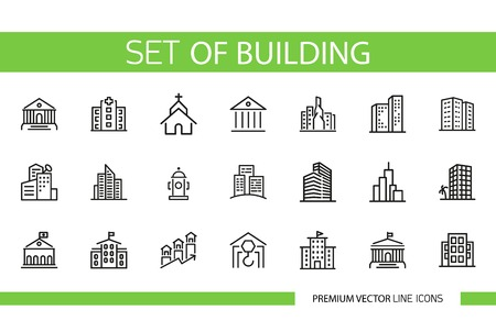 Set of building line icons. Home, house, skyscraper Construction concept. Can be used for topics like city, industry, architecture