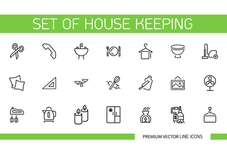 Set of housekeeping line icons. Crockery, decoration, appliance. Household concept. Can be used for topics like kitchen, housework, comfort