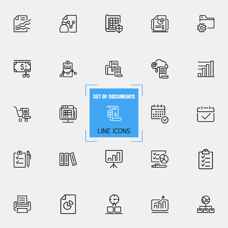 Documents icons. Set of  line icons. Invoice, diagram, report. Document work concept. Vector illustration can be used for topics like analysis, statistics, research. Illustration