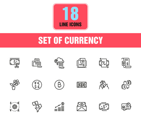 Currency icons. Set of line icons. Dollar, bitcoin, credit card. Currency exchange concept. Vector illustration can be used for topics like economics, finance, money. Foto de archivo