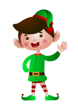 Christmas elf waving hand vector illustration. Christmas, fairytale, traditional celebration. Holiday concept. Can be used for greeting cards, invitations, posters, leaflets, brochure