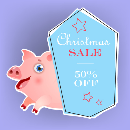 Christmas fifty percent sale poster design with chubby funny piggy. Inscription in blue frame with red stars and chubby piglet on light purple background. Can be used for sales, shops, discounts