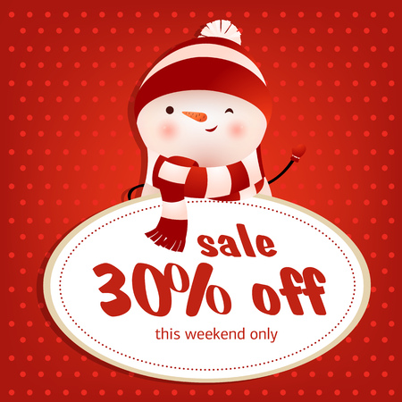 This weekend sale red poster design with winking snowman. Inscription in round white frame and winking snowman on red background with polka dots. Can be used for sales, shops, discounts