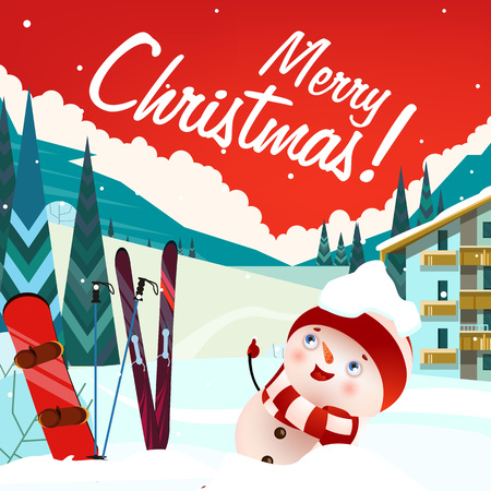 Merry Christmas lettering with ski resort landscape and snowman. Christmas greeting card or advertisement design. Handwritten text, calligraphy. For brochures, invitations, posters or banners.