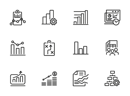 Business planning icon. Set of line icon on white background. Analytics, recruitment, finding solution. Marketing concept. Vector illustration can be used for topic like business, management, analysis Фото со стока