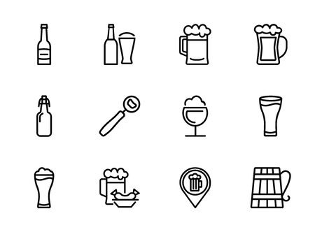 Pub icon. Set of line icon on white background. Beer bottle, craft bar, beer mug. Beer concept. Vector illustration can be used for topics like alcoholic drinks, leisure, bar