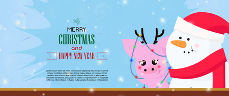 Merry Christmas and Happy New Year banner with snowman and funny pig with antlers wrapped in Christmas lights. Lettering with realistic elements can be used for invitations, signs, announcements Illustration
