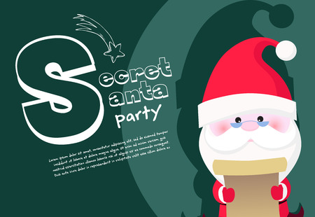 Secret Santa party banner design with concentrated Santa Claus in glasses reading scroll on green background. Lettering with realistic elements can be used for invitations, signs, announcements Illustration