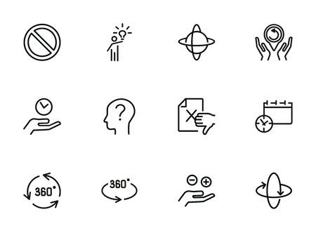 Icônes d'idée et d'enquête. Ensemble d'icônes de ligne sur fond blanc. Idée, humain, étude. Concept de science et d'enquête. L'illustration vectorielle peut être utilisée pour des sujets comme l'espace, la science, les affaires