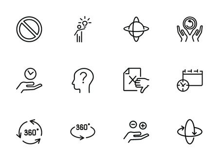 Idea and investigation icons. Set of line icons on white background. Idea, human, study. Science and investigation concept. Vector illustration can be used for topics like space, science, business
