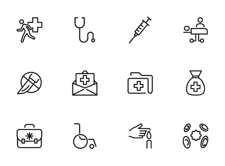 Medicine line icons. Set of line icons on white background. Healthcare concept. Ambulance, syringe, danger. Can be used for topics like pharmacy, medicine, hospital Stock Photo