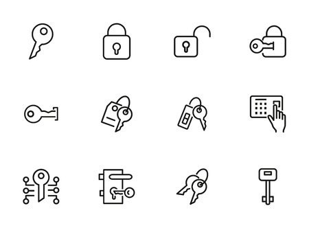 Key line icons. Set of line icons on white background. Safety concept, Key, locker, entry phone. Vector illustration can be used for house, house security, computer programs Stok Fotoğraf