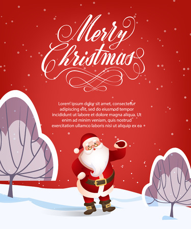 Merry Christmas lettering with sample text and Santa Claus. Christmas greeting card. Handwritten text, calligraphy. For leaflets, brochures, invitations, posters or banners.