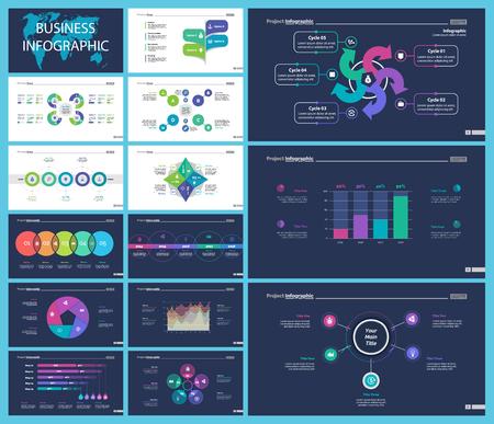 El conjunto de diagramas de infografía de negocios creativos se puede utilizar para informes anuales, diseño web, diseño de flujo de trabajo. Concepto de marketing. Opción venn, proceso, gráfico de porcentaje, gráfico de barras, gráfico de áreas, línea de tiempo
