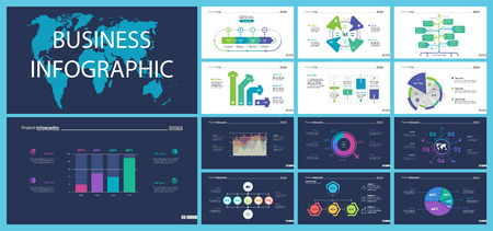 Creative business infographic slide templates set can be used for annual report, web design, workflow layout. Management concept. Option, comparison, donut, area, organizational charts, flowchart Illustration