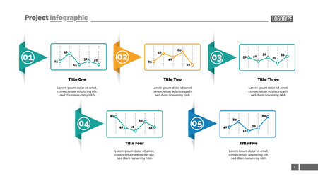 Five line charts slide template. Business data. Report, review, design. Creative concept for infographic, report. Can be used for topics like finance, analytics, marketing.