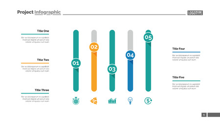 Five columns bar chart. Business data. Comparison, diagram, design. Creative concept for infographic, templates, presentation, report. Can be used for topics like analysis, accounting, research.