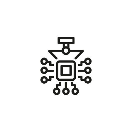 Electronic chip line icon. Circuit board, motherboard, processor. Printing industry concept. Vector illustration can be used for topics like cybernetics, technology, electronics