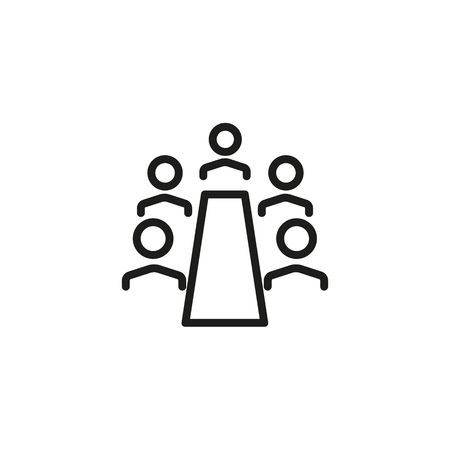 Chief executive line icon. Boardroom, meeting, company. Training concept. Vector illustration can be used for topics like business, partnership, career
