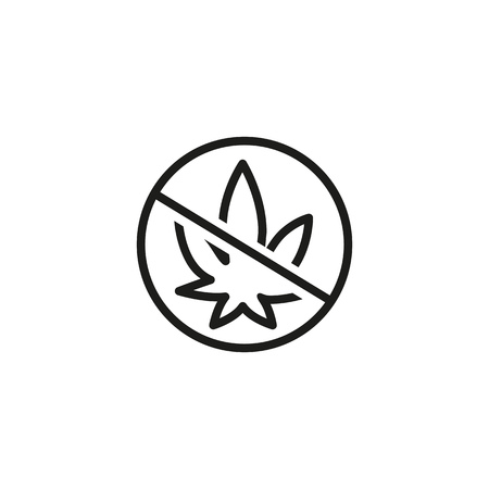 No drugs sign line icon. Addiction, prohibition, healthy lifestyle. Cannabidiol concept. Vector can be used for topics like healthcare, narcotics, social issues