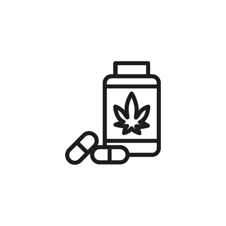 Prescribed drug line icon. Painkiller, anesthetic, addiction. Cannabidiol concept. Vector can be used for topics like healthcare, pharmacy, medicine