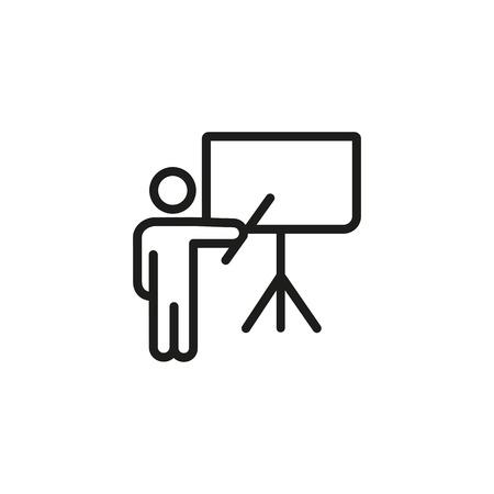 Moderator am Flipchart-Liniensymbol. Business-Coach, Konferenz, Lehrer. Trainingskonzept. Vektorillustration kann für Themen wie Wirtschaft, Bildung, Treffen verwendet werden Vektorgrafik