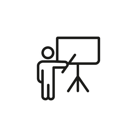 Presenter at flipchart line icon. Business coach, conference, teacher. Training concept. Vector illustration can be used for topics like business, education, meeting