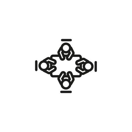 Draufsicht des Geschäftsteams beim Symbol für die Besprechungsleitung. Briefing, Diskussion, Sitzungssaal. Trainingskonzept. Vektorillustration kann für Themen wie Wirtschaft, Planung, Kommunikation verwendet werden