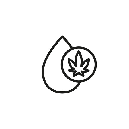 Drop with cannabis symbol line icon. Hemp oil, cannabis extract, medical cannabis. Cannabidiol concept. Vector can be used for topics like pharmacy, medicine, organic products Banco de Imagens - 112583058