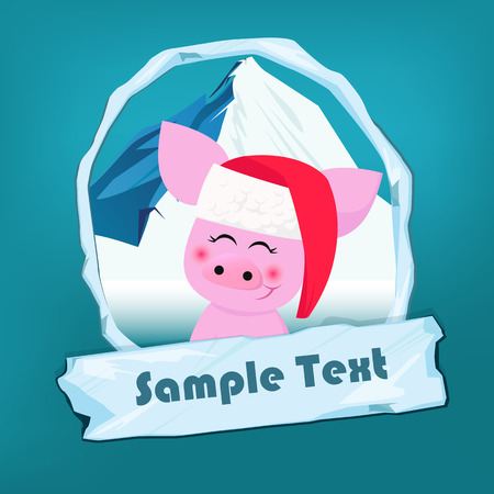 Christmas flyer template. Cute piggy in Santa hat, snowy mounting in oval frame and icy sign with sample text. Vector illustration can be used for banners, posters, greeting card design