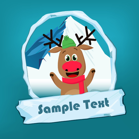 Christmas flyer template. Jolly reindeer, snowy mounting in oval frame and icy sign with sample text. Vector illustration can be used for banners, posters, greeting card design