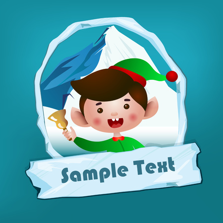 Christmas flyer template. Shouting elf with jingle, snowy mounting in oval frame and icy sign with sample text. Vector illustration can be used for banners, posters, greeting card design Vectores
