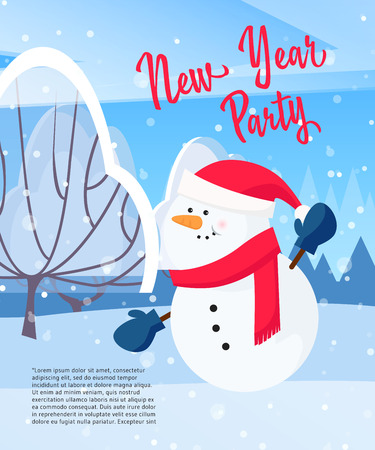 New Year Party poster design. Cartoon snowman pointing at sample text, snowy trees and snowfall in background. Template can be used for flyers, banners, greeting cards
