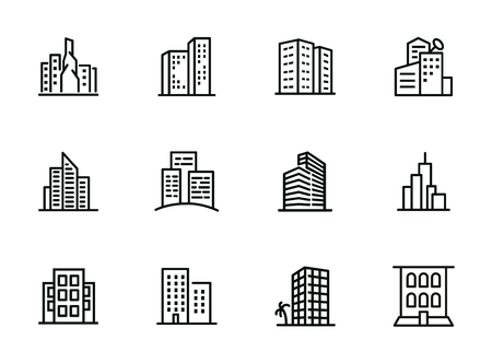 Cityscape line icon set. Set of line icons on white background. Architecture concept. Building, skyscraper, architecture. Vector illustration can be used for topics like apartment, estate, downtown