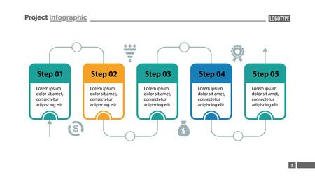 Modèle de diapositive de diagramme de processus en cinq étapes. Données commerciales. Flux, diagramme, conception. Concept créatif pour infographie, présentation. Peut être utilisé pour des sujets tels que la gestion, le flux de travail, le travail d'équipe. Vecteurs