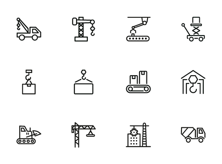 Industry machines line icon set. Concrete mixer, crane, site. Machinery concept. Can be used for topics like construction, robotic science, technology Stock Illustratie