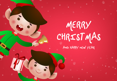Christmas greeting card design. Xmas elves ringing bell and giving gifts on red background. Illustration can be used for banners, flyers, posters Illustration