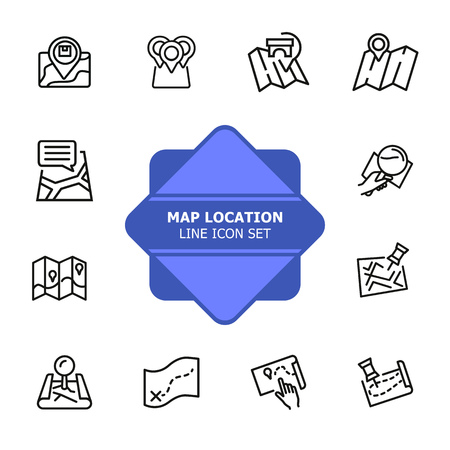 Map location line icon set. Pin, mark pointer, city plan. Navigation, concept. Can be used for topics like route, itinerary, address