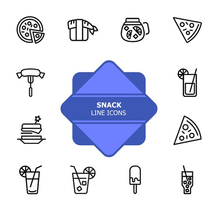 Snack line icons. Set of line icons on white background. Picnic concept. Pizza, cocktail, sausage. Can be used for topics like catering, food, barbeque