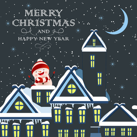 Christmas festive card design. Cheerful snowman on snow covered city building rooftop. Illustration can be used for banners, flyers, posters Stock Illustratie